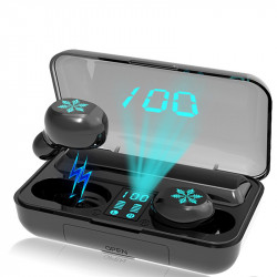 Mini Portable TWS Earbuds Wireless bluetooth 5.0 Earphone LED Display IPX7 Waterproof Headphone with Mic