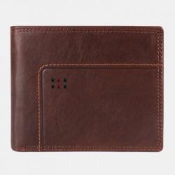 Men Vintage Genuine Leather RFID Blocking Anti-theft Wallet