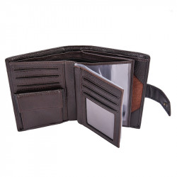 Hengsheng Tri-fold PU Leather Wallet Multifunction  ID Credit Card Holder Passport Holder