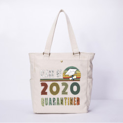 Women Men Anti-epidemic Quarntined Character Casual Canvas Shoulder Bag