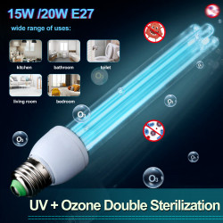 15W/20W 220V E27 UV+Ozone Double Sterilization LED UVC Sterilizer Lamp UV+O3 Disinfection Germicidal Light For Living Room/Toilet