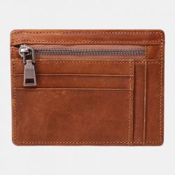 Men Genuine Leather Viintage RFID Blocking Anti-Theft Thin Cash Wallet Zipper Coin Bag