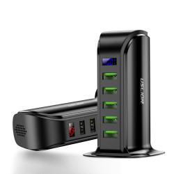 Uslion 5 Port Multi Smart USB Charger HUB LED Display USB Charging Station Dock for iPhone 11 Pro Samsung Xiaomi Huawei
