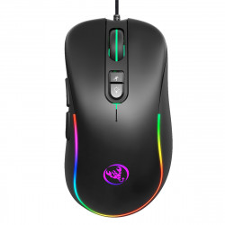 HXSJ J300 Wired Gaming Mouse 7 Button Macro Programming Mouse 6400DPI Colorful RGB Backlight USB Wired Mouse
