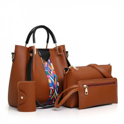 Four-Piece Women'S Bag Pu Leather Bucket Ba
