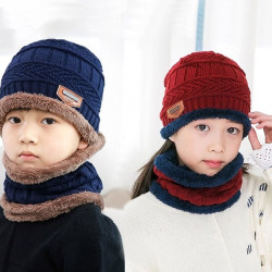 2018 Autumn Winter Kids Hat  Scarf Knit Hat   Boy Girlchildren
