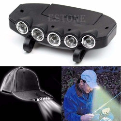 Led Clip On 5 Head Cap Hat Light Head Lamp Torch Fishing Cam