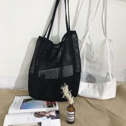 Summer New Korean Grid Tote Shopping  Bag Mesh Openwork B