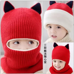 Baby Boy Girl Kids Child Winter Warm Cap Hat  Scarf 3In1