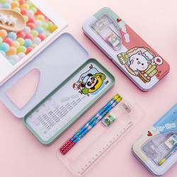 Double-Layer Set Of Stationery Boxes Student Pencil Case Sky