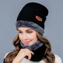 Hat Men Women Winter Knit Cap + Scarf Warm Ski Neck Wrap Sets