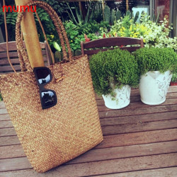 Hand Bag Wicker Rattan Bag Shoulder Bag  Shopping Straw Bag