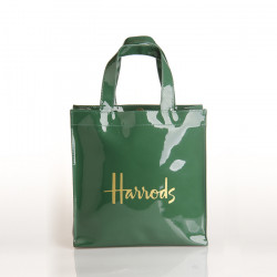 New Pvc Shopping  Bag Dark Green Gold Word Large Capacity Waterproof Shopping Bag Environmental Protection Bag Handbag
